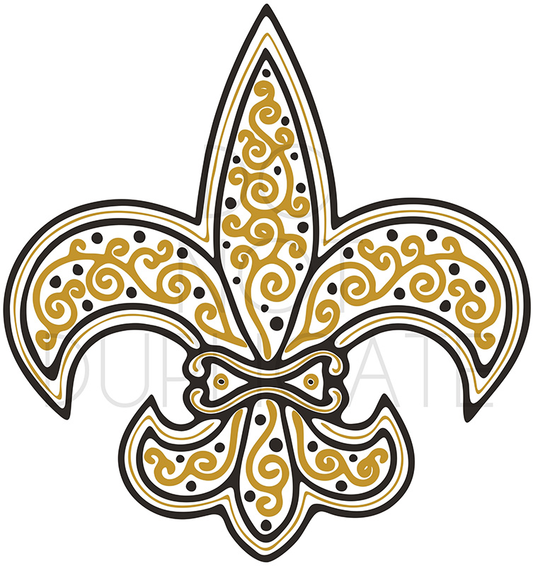 graphic relating to Fleur De Lis Printable known as Mardi Gras Saints Fleur De Lis SVG Printable