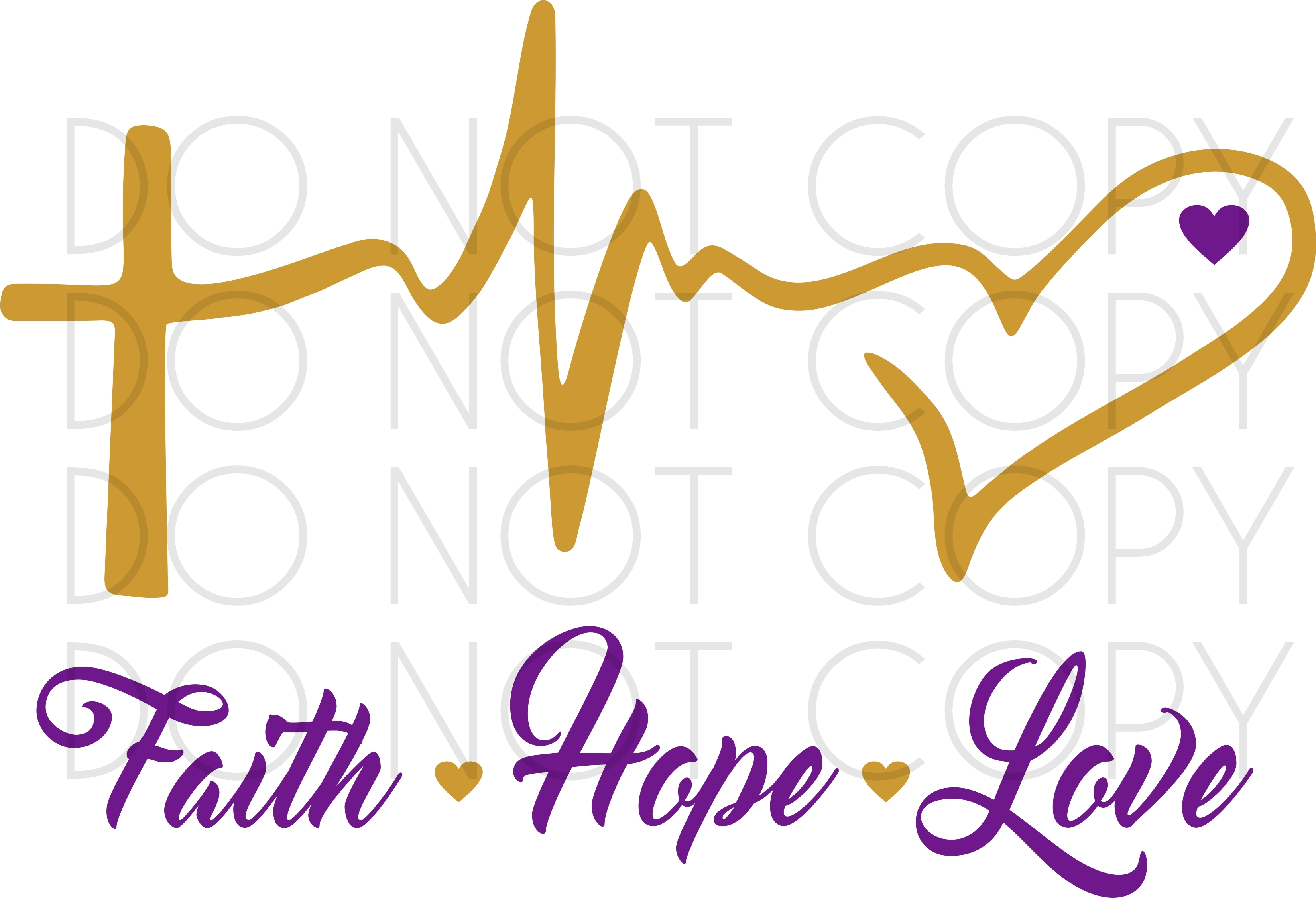 Download Faith Hope Love Heartbeat SVG Cut and Print Design for ...