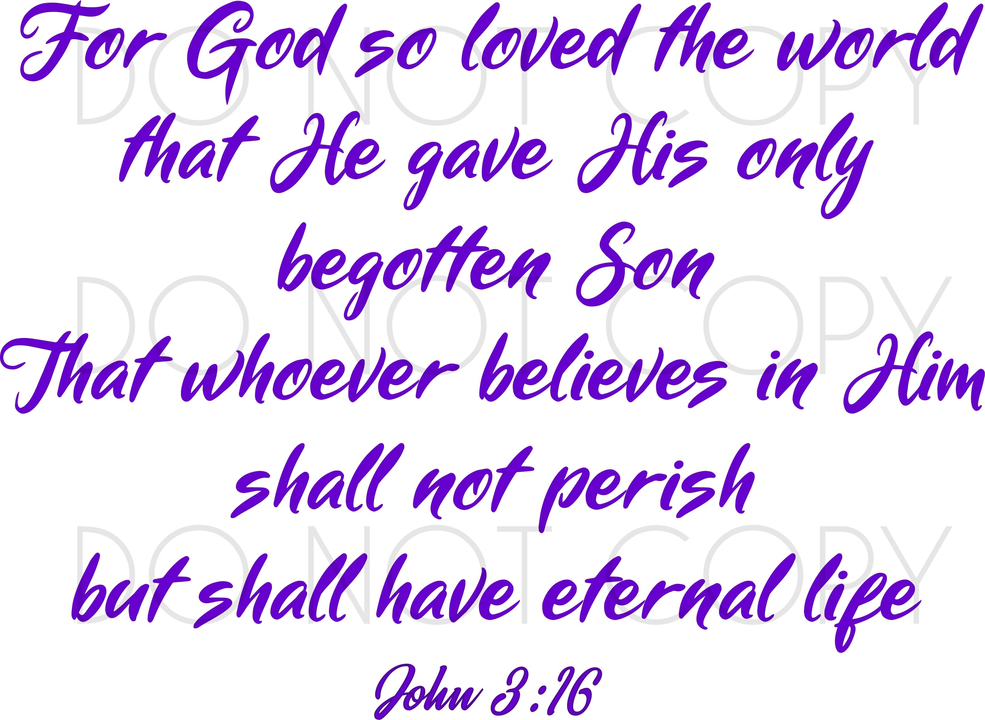 John 3 16 Scripture Svg Cut Vector Clipart For Cricut Silhouette Printers